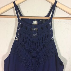As U Wish dress crochet bib blue sleeveless sz S